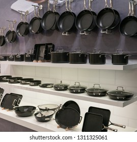 Frankfurt, Germany. 11th Feb 2019. Impressions from the Ambiente trade fair 2019: Le Creuset pots & pans show display. Ambiente is a leading consumer goods trade fair