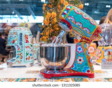 Frankfurt, Germany. 11th Feb 2019. Impressions from the Ambiente trade fair 2019: Dolce & Gabbana kitchen machines by SMEG. Ambiente is a leading consumer goods trade fair