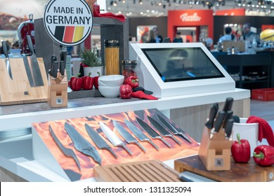 Frankfurt, Germany. 11th Feb 2019. Impressions from the Ambiente trade fair 2019: Product stages of a knife by WMF. Ambiente is a leading consumer goods trade fair