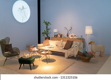 Frankfurt, Germany. 11th Feb 2019. Impressions from the Ambiente trade fair 2019: Living room setup by Villeroy & Boch. Ambiente is a leading consumer goods trade fair