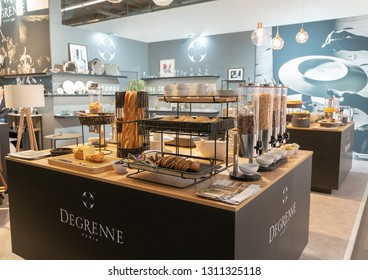 Frankfurt, Germany. 11th Feb 2019. Impressions from the Ambiente trade fair 2019: Breakfast Buffet example at Degrenne. Ambiente is a leading consumer goods trade fair