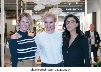 Frankfurt, Germany. 11th Feb 2019. Monica Ivancan, Franziska Knuppe and Verona Pooth visit Ipuro at Ambiente trade fair 2019. Ambiente is a leading consumer goods trade fair