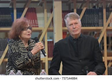 Frankfurt, Germany. 11th Oct, 2017.  Venus Khoury-Ghata, writer and Jean Marie Gustave Le Clezio, french author, Nobel Prize 2008, part of the jury of the Prix des cinq continents de la Francophonie