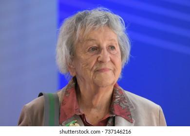 Frankfurt, Germany. 11th Oct, 2017. Ingrid Noll (* 1935), german writer, at the Frankfurt Bookfair / Buchmesse Frankfurt 2017
