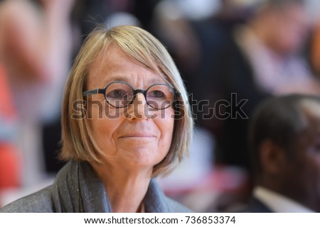 Frankfurt, Germany. 11th Oct, 2017. Francoise Nyssen french politician,  Minister of Culture of France, at Prix des cinq continents de la Francophonie, Frankfurt Bookfair / Buchmesse Frankfurt