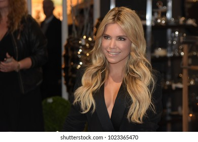 Frankfurt, Germany. 12th Feb, 2018. AMBIENTE: Model Sylvie Meis (* 1978) visits the AMBIENTE 2018 consumer goods fair in Frankfurt am Main. The netherlands are guest of honor of the fair this year