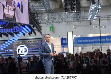 Frankfurt, Germany. 12th Sep, 2017. Laurens van den Acker, car designer,  at the Renault press conference at the 65th IAA International Motor Show in Frankfurt/Main on Tuesday, September 12th, 2017