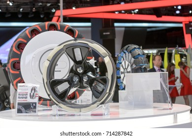 Frankfurt, Germany. 12th Sep, 2017. Hankook presents Shiftrac concept tires at the 65th IAA International Motor Show in Frankfurt/Main on Tuesday, September 12th, 2017