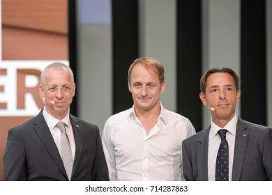 Frankfurt, Germany. 12th Sep, 2017. Christian Amenda, Tim Schrick, David Dello Stritto, at the Subaru press conference during 65th IAA International Motor Show in Frankfurt/Main