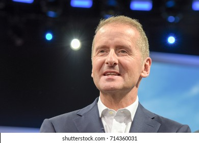 Frankfurt, Germany. 12th Sep, 2017. Dr. Herbert Diess, VW Manager. Photos from the Volkswagen / VW press conference at the 65th IAA International Motor Show in Frankfurt/Main