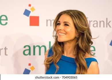 Frankfurt, Germany. 13th Feb, 2017. AMBIENTE: Actress/Model Elizabeth Hurley (THE ROYALS) visits the AMBIENTE Frankfurt and went 'Power Shopping' with Detlef Braun (Messe Frankfurt) at Ambiente 2017