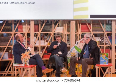 Frankfurt, Germany. 14th Oct, 2017. Denis Scheck, Jean-Yves Ferri, Didier Conrad - Asterix Panel - at Frankfurt Bookfair / Buchmesse Frankfurt 2017