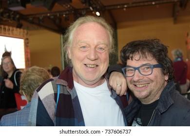 Frankfurt, Germany. 14th Oct, 2017. Jürgen Leber, translator (hessian version of Asterix) with Hennes Bender (* 1968), german comedian, actor and voice actor, at Frankfurt Bookfair / Buchmesse