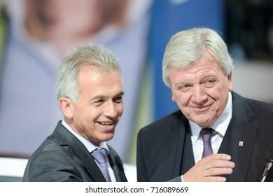 Frankfurt, Germany. 14th Sep, 2017. Peter Feldmann and Volker Bouffier at the 67th IAA International Motor Show in Frankfurt/Main on Tuesday, September 14th, 2017