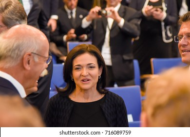 Frankfurt, Germany. 14th Sep, 2017. Sheryl Sandberg, COO Facebook at the Opening Ceremony, 67th IAA International Motor Show in Frankfurt/Main . On the left: Dr Dieter Zietsche, Daimler CEO