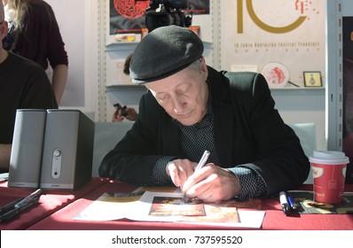 Frankfurt, Germany. 15th Oct, 2017. Santiago Ziesmer (* 1953), german actor and voice actor, german voice of Spongebob Schwammkopf / SpongeBob SquarePants at Frankfurt Bookfair / Buchmesse Frankfurt