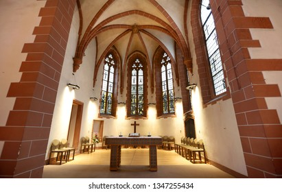 Frankfurt, Germany - 17.March, 2018: Lutheran church , a historic church interiors of the city of Frankfurt (Main), Germany