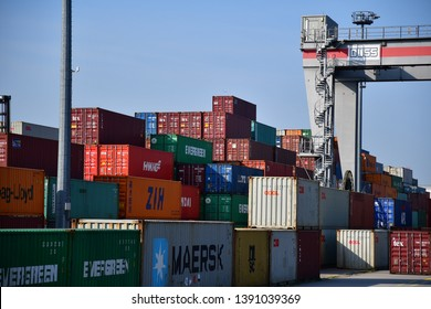 Frankfurt, Germany - 2018.08.29 container terminal