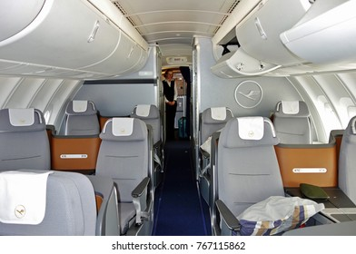 FRANKFURT, GERMANY -21 AUG 2017- Business class seats inside the upper deck cabin of a Boeing 747-8 jumbo jet airplane from the German airline Lufthansa (LH).