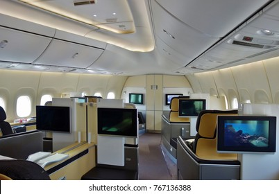FRANKFURT, GERMANY -21 AUG 2017- First class seats inside a Boeing 747-8 jumbo jet airplane from the German airline Lufthansa (LH).