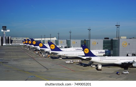 FRANKFURT, GERMANY -21 MAY 2017 -Lufthansa (LH) aircrafts are lined up at the Frankfurt Airport (FRA), the busiest airport in Germany and a major hub for the German airline.