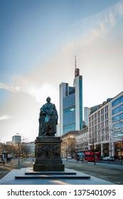 Frankfurt; Germany - 23. February; 2018: Monument of Johann Wolfgang von Goethe at the Goetheplatz in Frankfurt downtown
