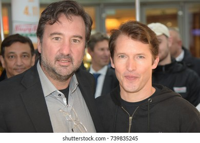 Frankfurt, Germany. 23th Oct, 2017. British Singer-Songwriter James Blunt with Krispy Kreme CEO Mike Tattersfield at the opening of the very first Krispy Kreme Doughnuts shop in Germany