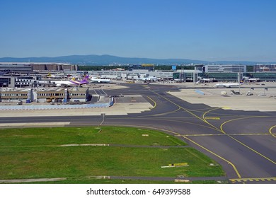 FRANKFURT, GERMANY -26 MAY 2017- Exterior view of the Frankfurt Airport (FRA), the busiest airport in Germany and a major hub for the German airline Lufthansa (LH).