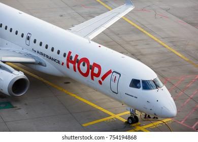 FRANKFURT,  GERMANY - 26 September, 2017: Embraer 190 HOP Airlines for Airfrance at the Frankfurt International Airport