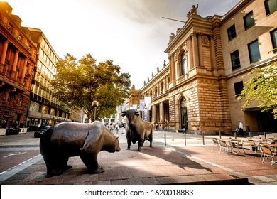FRANKFURT. GERMANY. 28 AUGUST 2019 : Sculpture of a bull and a bear at the Frankfurt Stock Exchange. Germany
