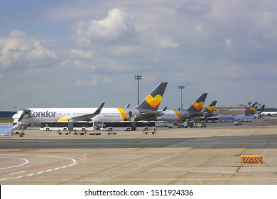 FRANKFURT, GERMANY -29 MAY 2019- View of an airplane from German airline Condor (DE) Thomas Cook travel at the Frankfurt Airport (FRA). Thomas Cook went bankrupt in September 2019.