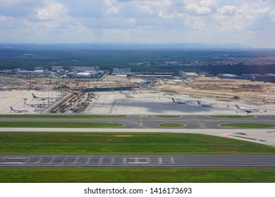 FRANKFURT, GERMANY -29 MAY 2019-View of the Frankfurt Airport (FRA), the busiest airport in Germany and a major hub for German airline Lufthansa (LH).