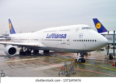 FRANKFURT, GERMANY -4 APR 2019- View of a Boeing 747-8 airplane from Lufthansa (LH) at the Frankfurt Airport (FRA), the busiest airport in Germany and a major hub for the German airline.