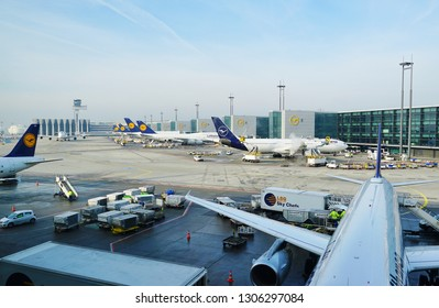 FRANKFURT, GERMANY -6 FEB 2019-View of airplanes from German airlinne Lufthansa (LH) at the Frankfurt Airport (FRA), the busiest airport in Germany.
