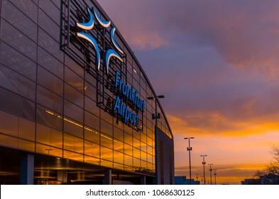 Frankfurt, Germany - April 12 2018: Airport building at sunset in Frankfurt, Germany