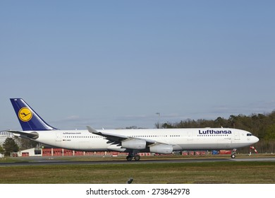 FRANKFURT, GERMANY - APRIL, 18. The Airbus A340-300 named Dueren of Lufthansa takes off at Frankfurt International Airport (Germany, FRA) on April 18, 2015.