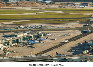 FRANKFURT, GERMANY - APRIL 19: aerial of airport on April 19,2012 in Frankfurt Germany. The new runway opened in APR 2012 and causes a lot of polictical discussion because of heravy noise.