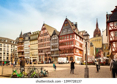 FRANKFURT, GERMANY - APRIL 23, 2019:  View of old architecture in the Altstadt, old city in Frankfurt, Germany,