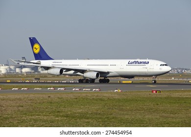 FRANKFURT, GERMANY - APRIL, 23. The Airbus A340-300 named Dueren of Lufthansa takes off at Frankfurt International Airport (Germany, FRA) on April 23, 2015.