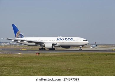 FRANKFURT, GERMANY - APRIL, 23. A Boeing 777-222(ER) of United Airlines takes off at Frankfurt International Airport (Germany, FRA) on April 23, 2015.