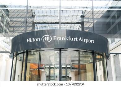 FRANKFURT , GERMANY- APRIL 24: View of Hilton Frankfurt Airport Hotel on April 24,2018