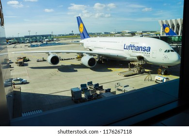 Frankfurt, Germany - April 28, 2018: Aircraft line Lufthansa Airbus A380 ready for departure. A380 is the flagship of Lufthansas aircraft fleet.
