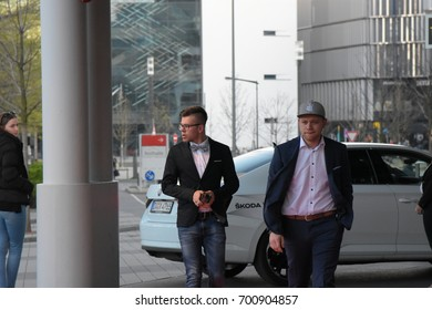 Frankfurt Germany, April 3rd 2017: Tay Schmedtmann (Winner of The Voice of Germany) arriving at the PRG LEA Live Entertainment Award at Festhalle. Frankfurt, Germany