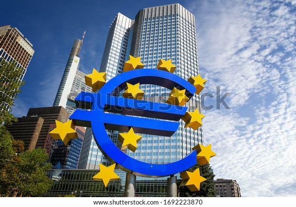 FRANKFURT, GERMANY - APRIL 5, 2019: The  Big Euro Sign at the European Central Bank (ECB)
