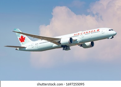 Frankfurt, Germany - April 7, 2020: Air Canada Boeing 787 airplane at Frankfurt airport (FRA) in the Germany. Boeing is an aircraft manufacturer based in Seattle, Washington.