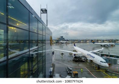 Frankfurt, Germany - Aug 10, 2017: Airbus A330-300 of Lufthansa Airline preparing to take off at Frankfurt Airport of Germany. Lufthansa, is the largest German airline.
