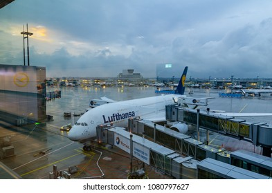 Frankfurt, Germany - Aug 10, 2017: Airbus A380-800 of Lufthansa Airline preparing to take off at Frankfurt Airport of Germany. Lufthansa, is the largest German airline.
