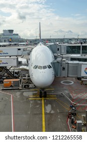 FRANKFURT, GERMANY - AUG 16, 2014: The Lufthansa A380 at Frankfurt international airport is ready for departure.