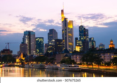 Frankfurt, Germany - Aug 18, 2016: View of Frankfurt am Main skyline at sunset
