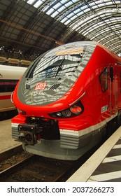 "FRANKFURT, GERMANY - Aug 20, 2021: A regional train at Frankfurt main station  DB class 632 ""Pesa Link II"" of the Czech manufacturer Pesa  Diesel powered  Nice shark face design"